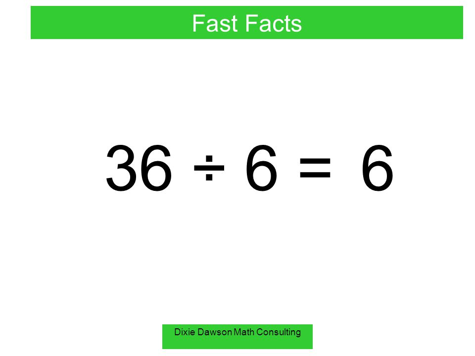 Dixie Dawson Math Consulting 18 ÷ 6 = 3 Fast Facts