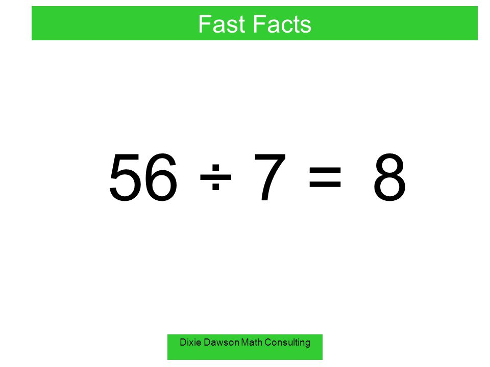 Dixie Dawson Math Consulting 8 ÷ 0 = undefined Fast Facts You can not divide by zero!