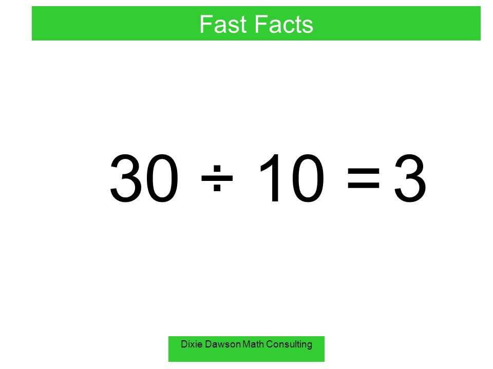 Dixie Dawson Math Consulting 30 ÷ 10 = 3 Fast Facts