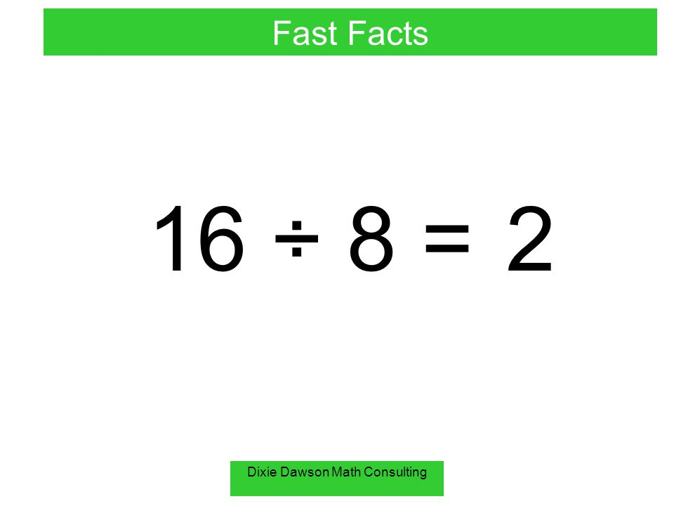 Dixie Dawson Math Consulting 6 ÷ 0 = undefined Fast Facts You can not divide by zero!