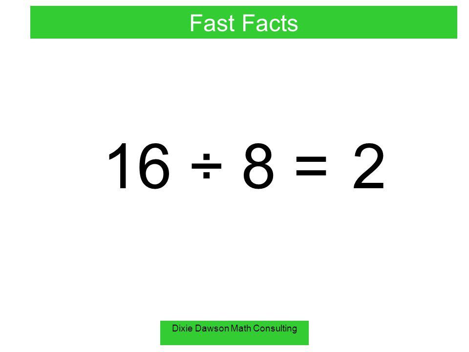 Dixie Dawson Math Consulting 30 ÷ 10 = 3 Fast Facts