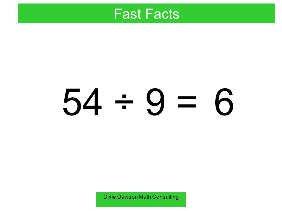 Dixie Dawson Math Consulting 54 ÷ 9 =6 Fast Facts