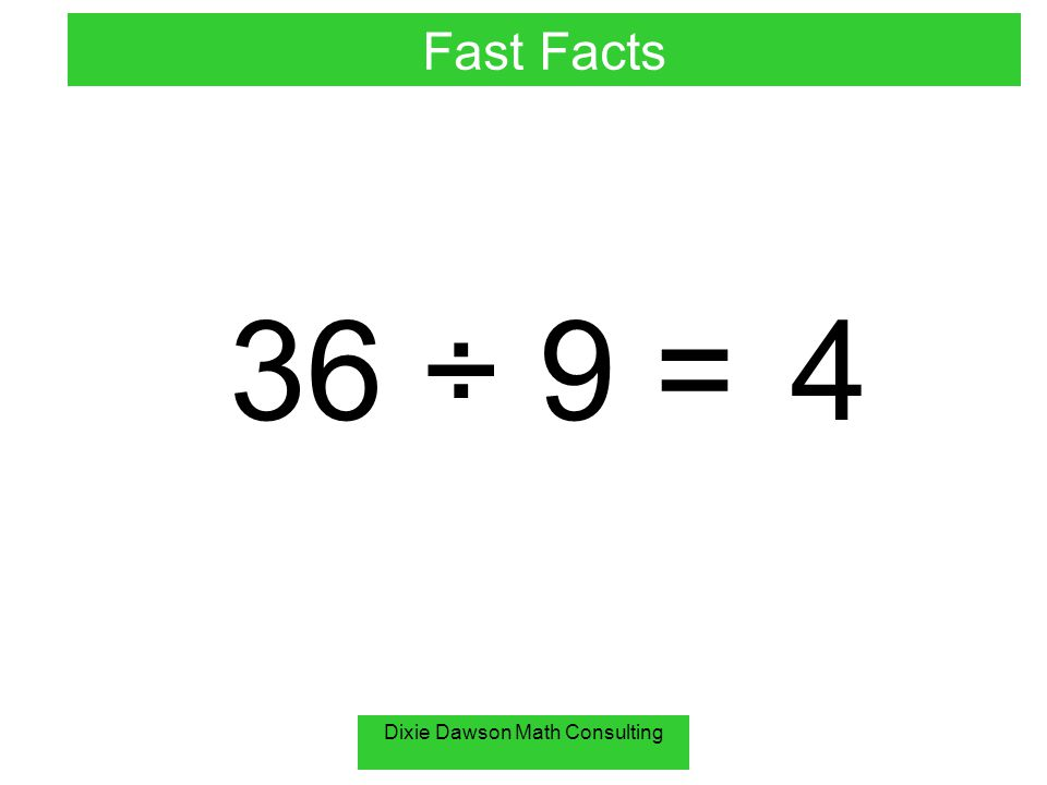 Dixie Dawson Math Consulting 36 ÷ 9 = 4 Fast Facts