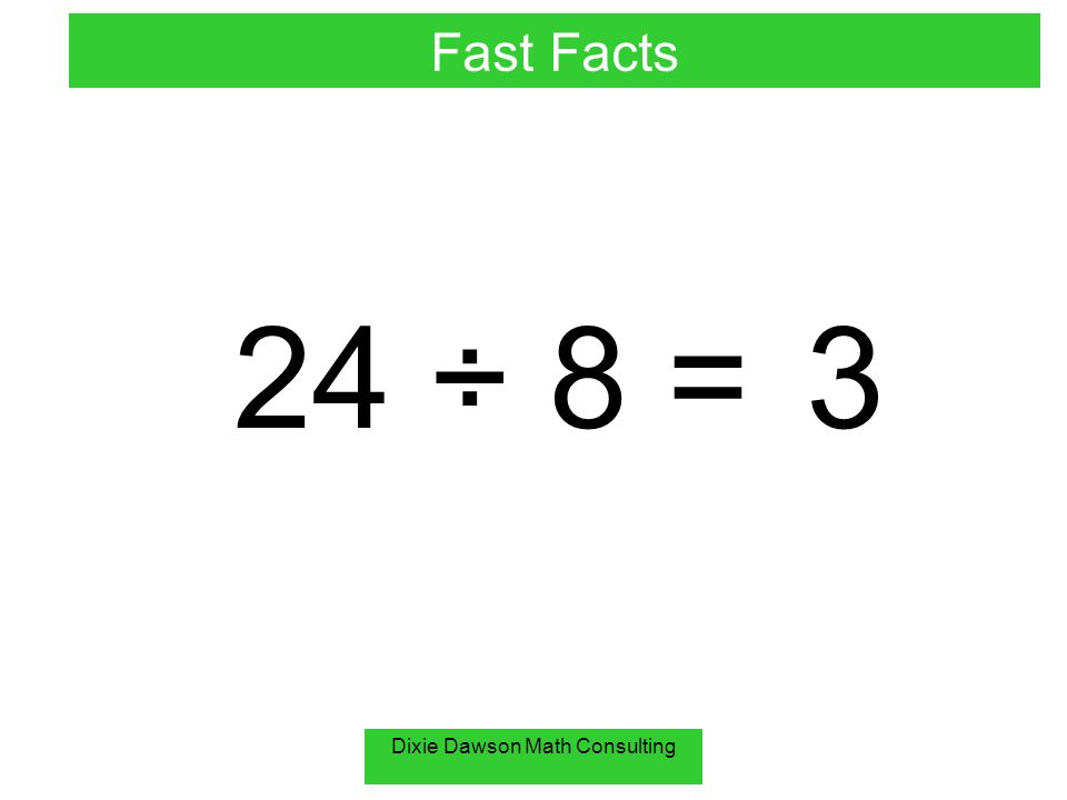 Dixie Dawson Math Consulting 24 ÷ 8 = 3 Fast Facts