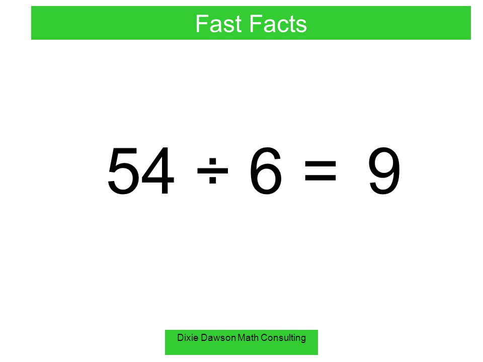 Dixie Dawson Math Consulting 54 ÷ 6 =9 Fast Facts