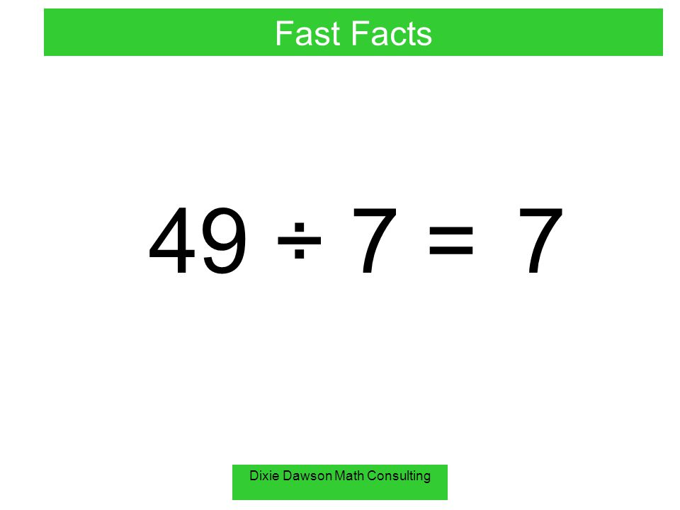 Dixie Dawson Math Consulting 0 ÷ 9 =0 Fast Facts