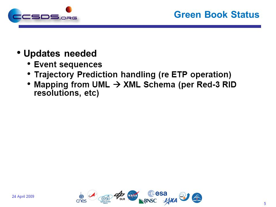 5 24 April 2009 Green Book Status Updates needed Event sequences Trajectory Prediction handling (re ETP operation) Mapping from UML  XML Schema (per Red-3 RID resolutions, etc)