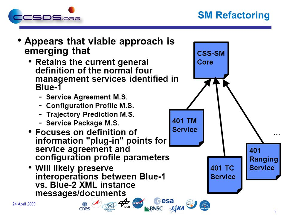 8 24 April 2009 SM Refactoring Appears that viable approach is emerging that Retains the current general definition of the normal four management services identified in Blue-1 - Service Agreement M.S.
