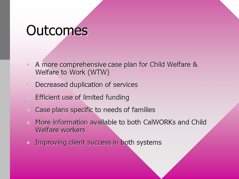 Outcomes A more comprehensive case plan for Child Welfare & Welfare to Work (WTW)A more comprehensive case plan for Child Welfare & Welfare to Work (WTW) Decreased duplication of servicesDecreased duplication of services Efficient use of limited fundingEfficient use of limited funding Case plans specific to needs of familiesCase plans specific to needs of families More information available to both CalWORKs and Child Welfare workersMore information available to both CalWORKs and Child Welfare workers Improving client success in both systemsImproving client success in both systems