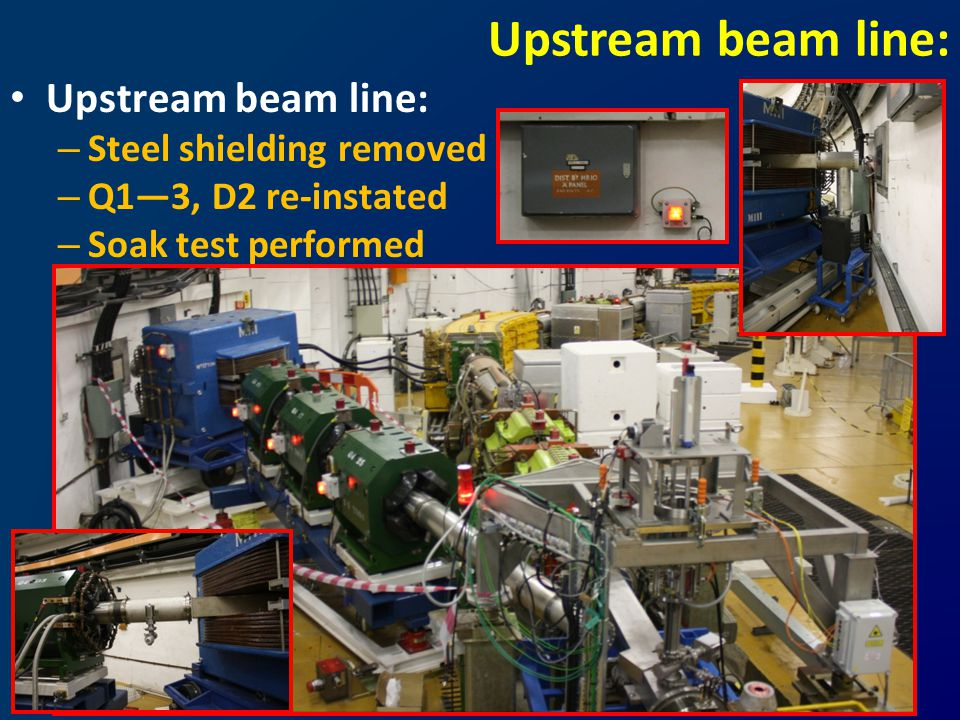 Upstream beam line: – Steel shielding removed – Q1—3, D2 re-instated – Soak test performed