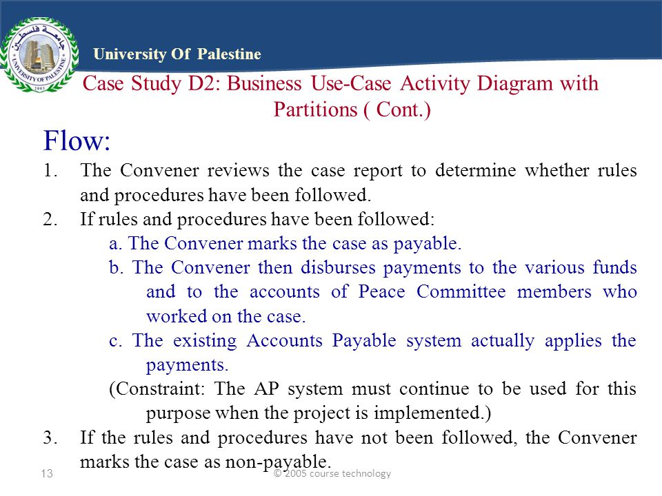 © 2005 course technology13 University Of Palestine Case Study D2: Business Use-Case Activity Diagram with Partitions ( Cont.) Flow: 1.The Convener reviews the case report to determine whether rules and procedures have been followed.