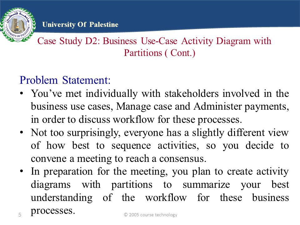 © 2005 course technology5 University Of Palestine Case Study D2: Business Use-Case Activity Diagram with Partitions ( Cont.) Problem Statement: You've