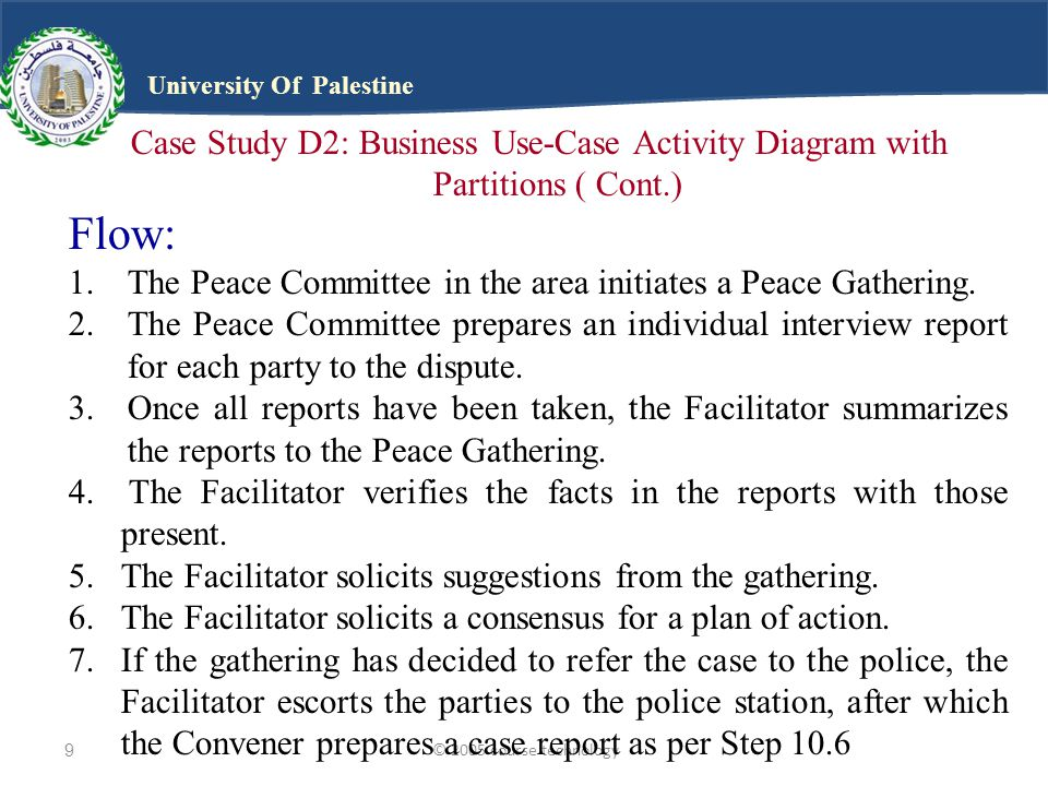 © 2005 course technology10 University Of Palestine Case Study D2: Business Use-Case Activity Diagram with Partitions ( Cont.) Flow (Cont.): 8.If, on the other hand, a consensus has been reached, the Facilitator appoints a Monitor.