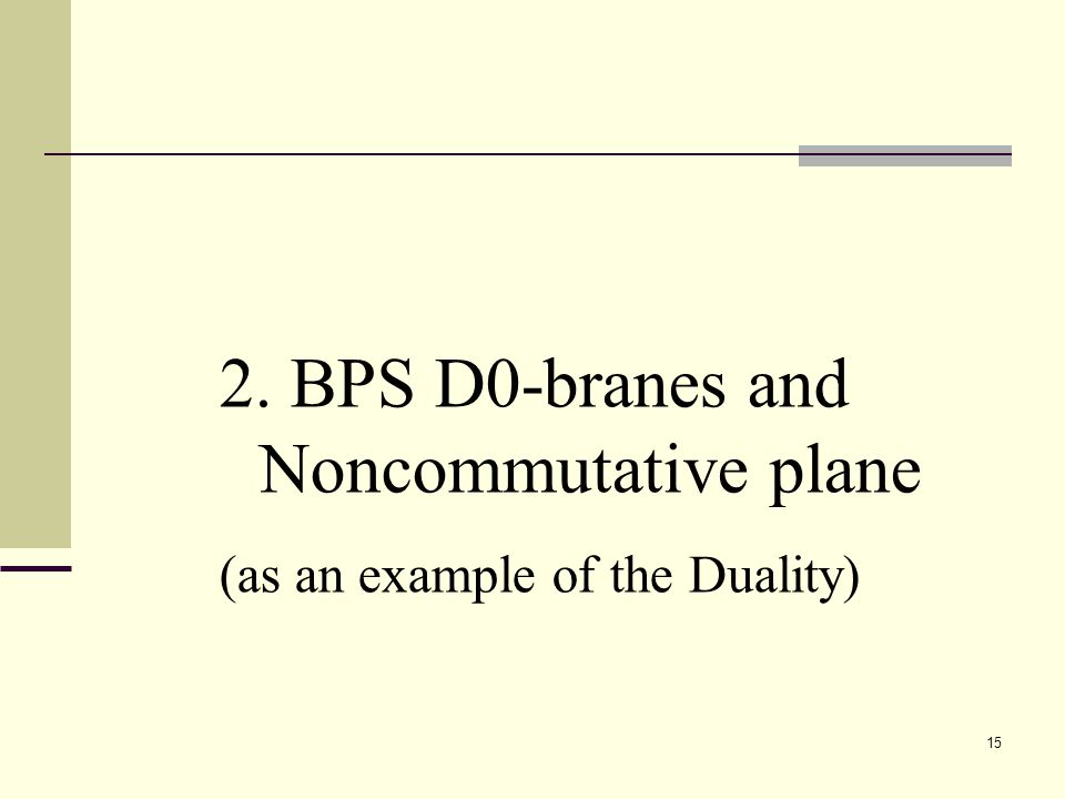 15 2. BPS D0-branes and Noncommutative plane (as an example of the Duality)