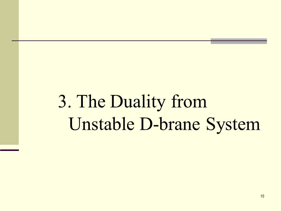 18 3. The Duality from Unstable D-brane System