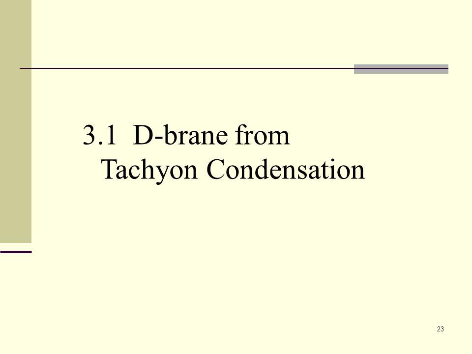 23 3.1 D-brane from Tachyon Condensation