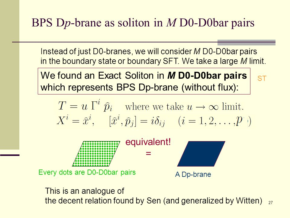 27 BPS Dp-brane as soliton in M D0-D0bar pairs We found an Exact Soliton in M D0-D0bar pairs which represents BPS Dp-brane (without flux): This is an analogue of the decent relation found by Sen (and generalized by Witten) equivalent.