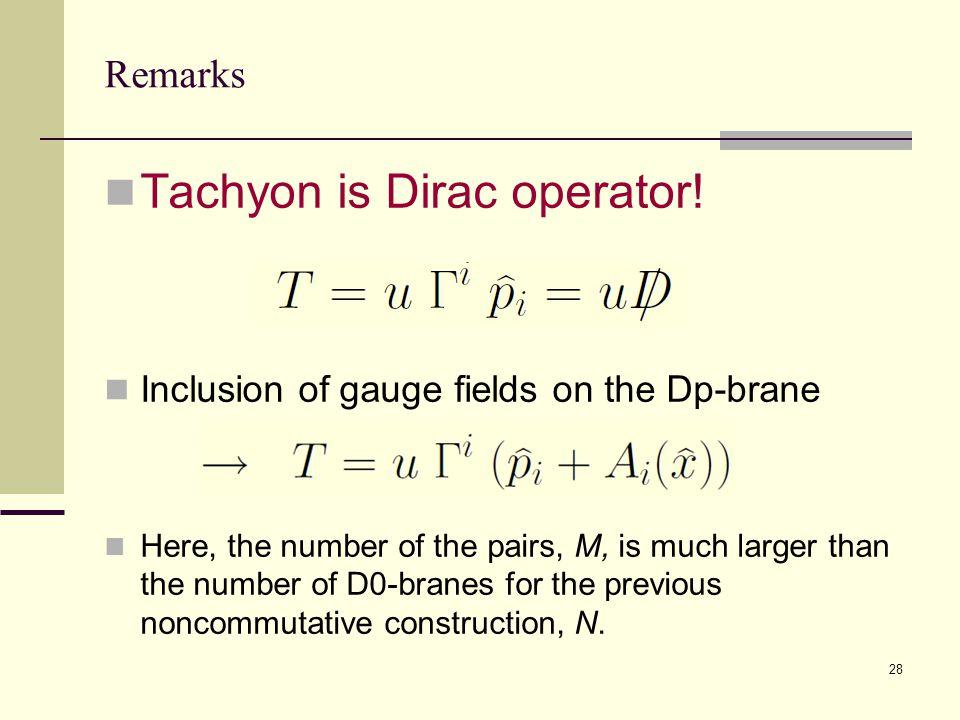 28 Remarks Tachyon is Dirac operator.
