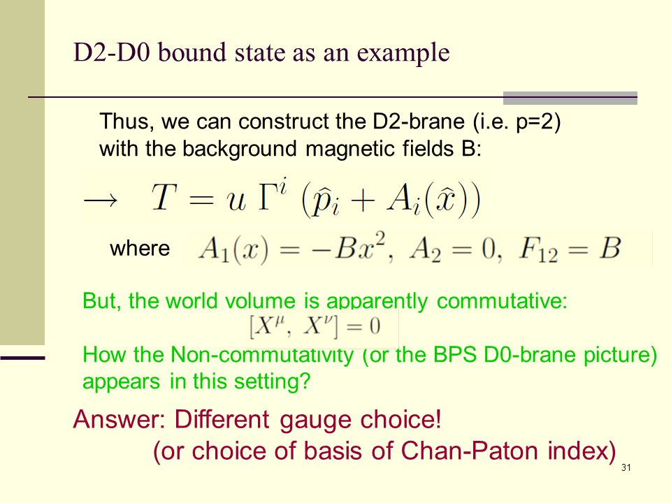 31 D2-D0 bound state as an example But, the world volume is apparently commutative: How the Non-commutativity (or the BPS D0-brane picture) appears in this setting.