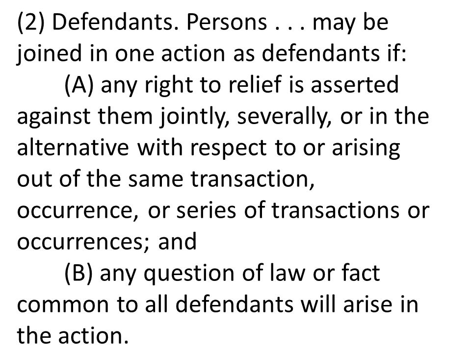 (2) Defendants.Persons...