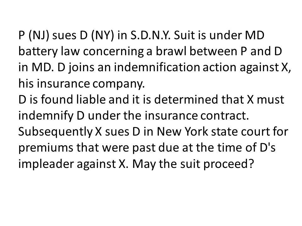 P (NJ) sues D (NY) in S.D.N.Y.