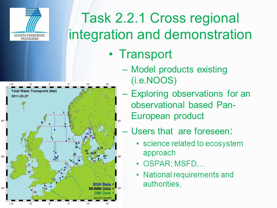 Task 2.2.1 Cross regional integration and demonstration Transport –Model products existing (i.e.NOOS) –Exploring observations for an observational bas