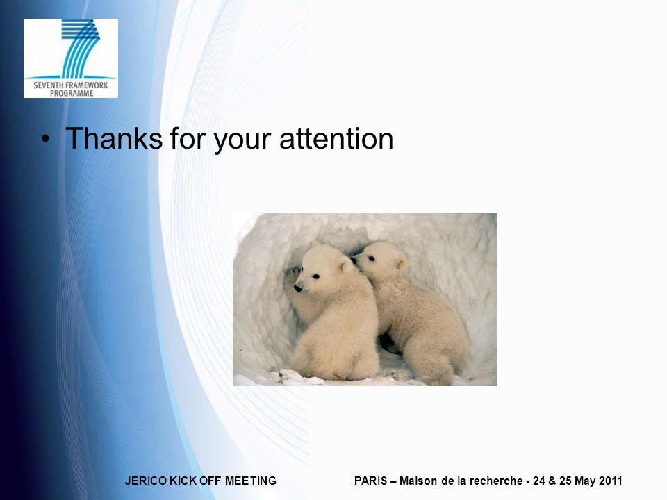 JERICO KICK OFF MEETINGPARIS – Maison de la recherche - 24 & 25 May 2011 Thanks for your attention