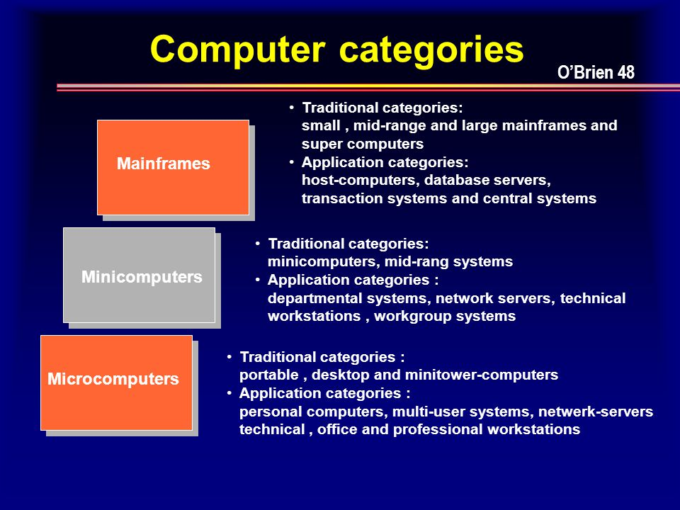 Computer categories Mainframes Minicomputers Microcomputers Traditional categories: small, mid-range and large mainframes and super computers Application categories: host-computers, database servers, transaction systems and central systems Traditional categories: minicomputers, mid-rang systems Application categories : departmental systems, network servers, technical workstations, workgroup systems Traditional categories : portable, desktop and minitower-computers Application categories : personal computers, multi-user systems, netwerk-servers technical, office and professional workstations O'Brien 48