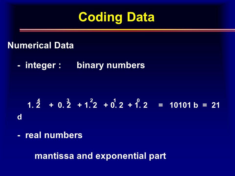 Coding Data Numerical Data - integer : binary numbers 1.