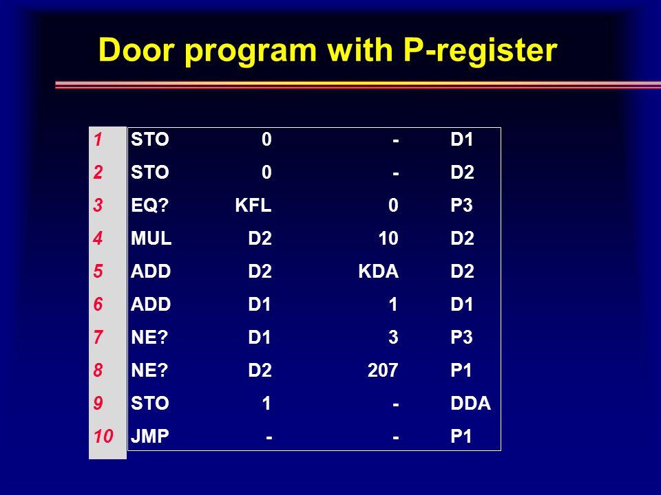 Door program with P-register 1 2 3 4 5 6 7 8 9 10 STO EQ.
