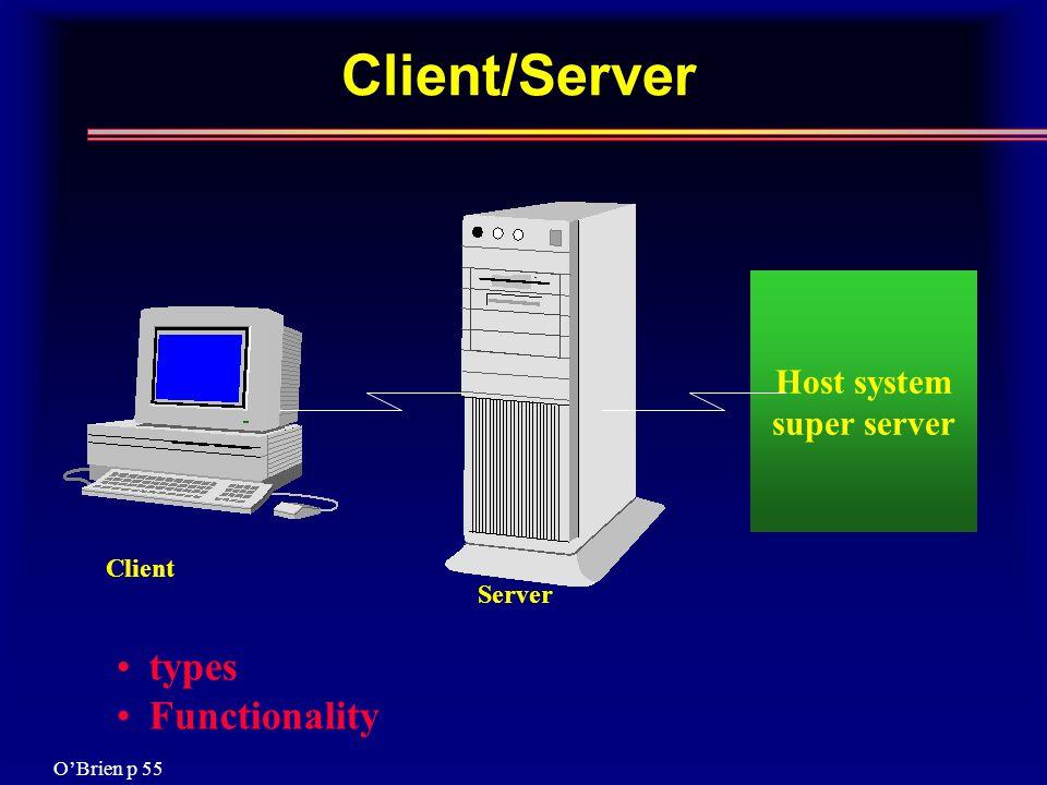 Client/Server Host system super server Client Server types Functionality O'Brien p 55