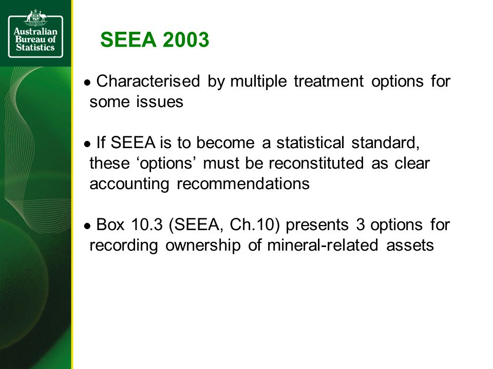 SEEA 2003 Characterised by multiple treatment options for some issues If SEEA is to become a statistical standard, these 'options' must be reconstitut