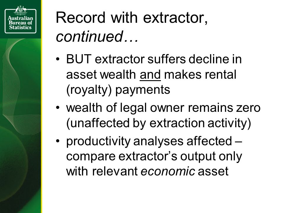 Record with extractor, continued… BUT extractor suffers decline in asset wealth and makes rental (royalty) payments wealth of legal owner remains zero