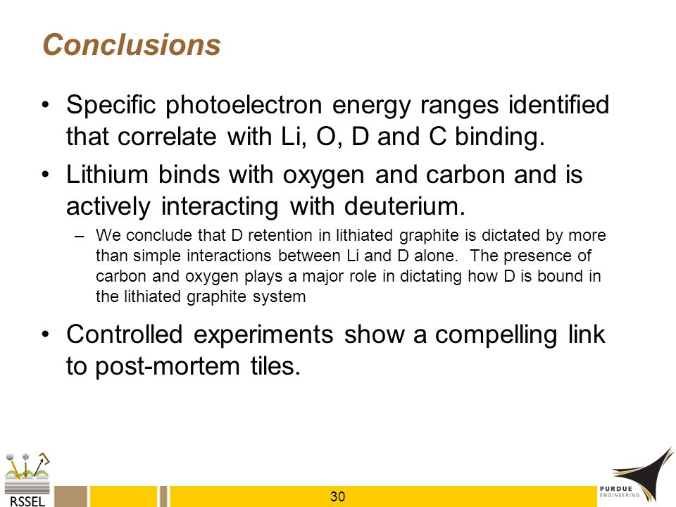 Conclusions Specific photoelectron energy ranges identified that correlate with Li, O, D and C binding. Lithium binds with oxygen and carbon and is ac