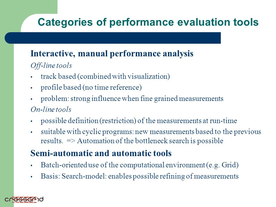 Categories of performance evaluation tools Interactive, manual performance analysis Off-line tools track based (combined with visualization) profile b