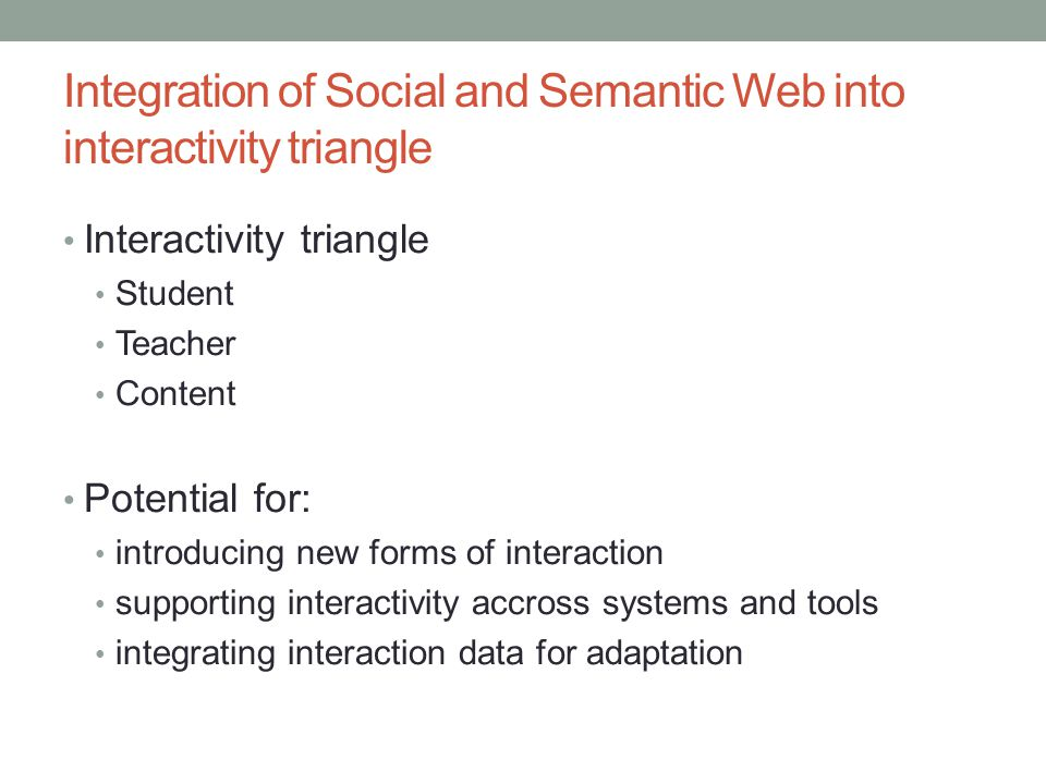 Integration of Social and Semantic Web into interactivity triangle Interactivity triangle Student Teacher Content Potential for: introducing new forms