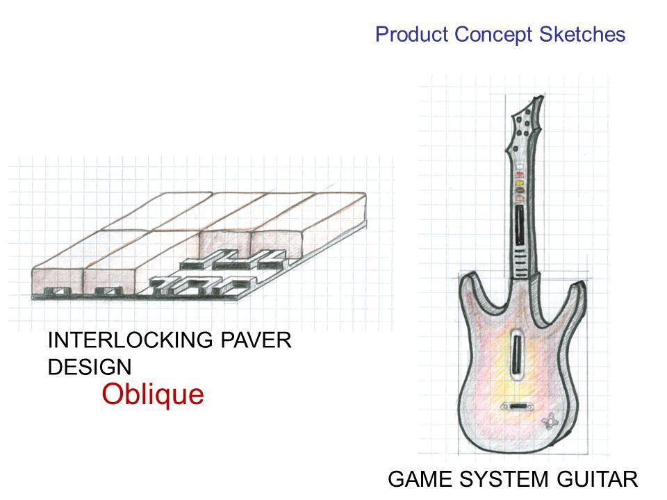 Oblique INTERLOCKING PAVER DESIGN GAME SYSTEM GUITAR Product Concept Sketches