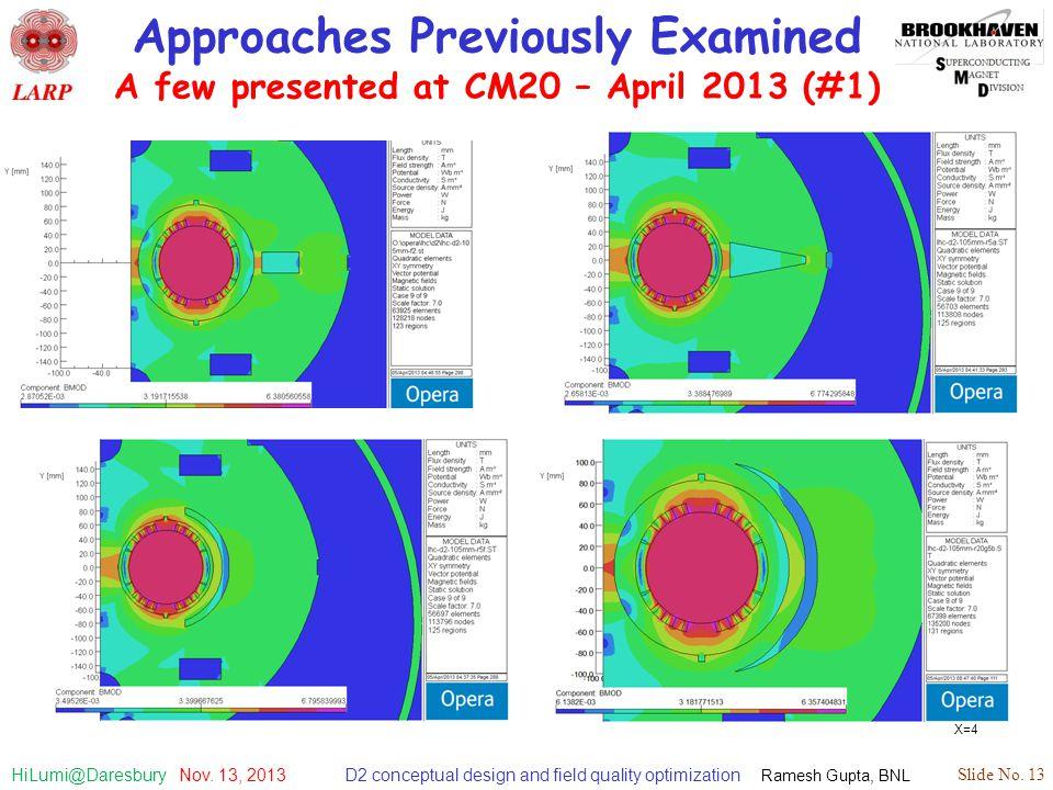 D2 conceptual design and field quality optimization Ramesh Gupta, BNL Slide No. 13 HiLumi@Daresbury Nov. 13, 2013 Approaches Previously Examined A few