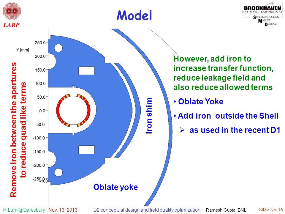 D2 conceptual design and field quality optimization Ramesh Gupta, BNL Slide No. 16 HiLumi@Daresbury Nov. 13, 2013 Model Oblate yoke Iron shim Remove I