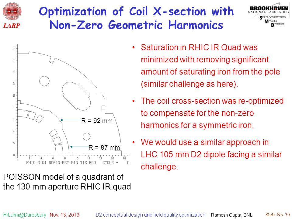 D2 conceptual design and field quality optimization Ramesh Gupta, BNL Slide No. 30 HiLumi@Daresbury Nov. 13, 2013 Optimization of Coil X-section with