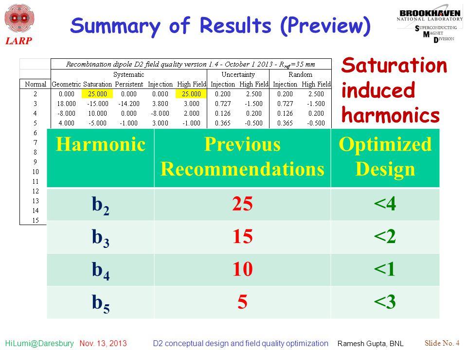 D2 conceptual design and field quality optimization Ramesh Gupta, BNL Slide No. 4 HiLumi@Daresbury Nov. 13, 2013 Summary of Results (Preview) Harmonic