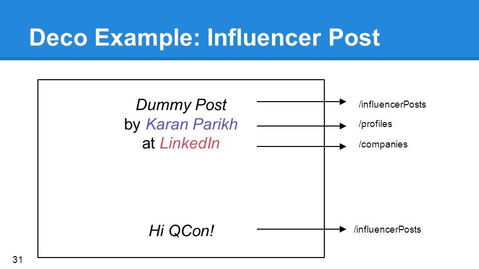 Deco Example: Influencer Post Dummy Post by Karan Parikh at LinkedIn Hi QCon.