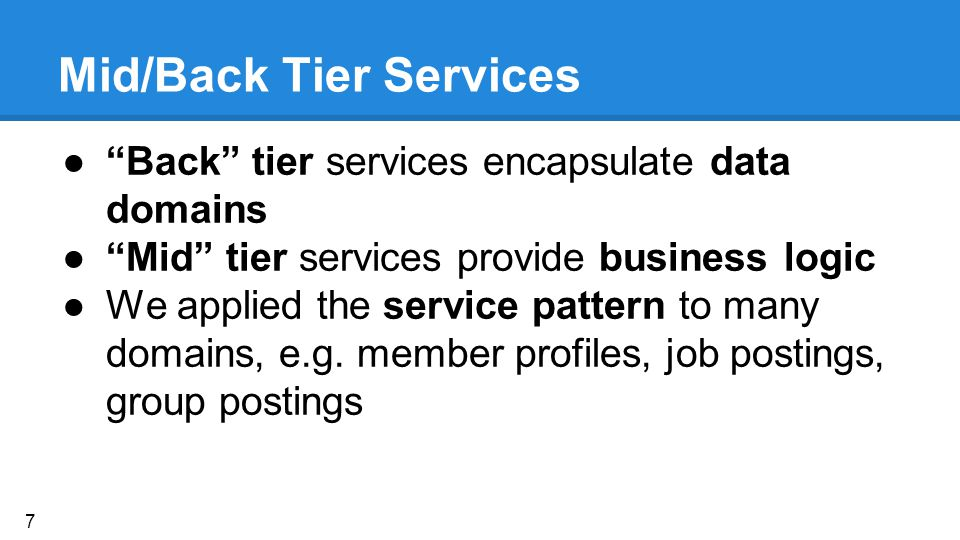Mid/Back Tier Services ● Back tier services encapsulate data domains ● Mid tier services provide business logic ●We applied the service pattern to many domains, e.g.