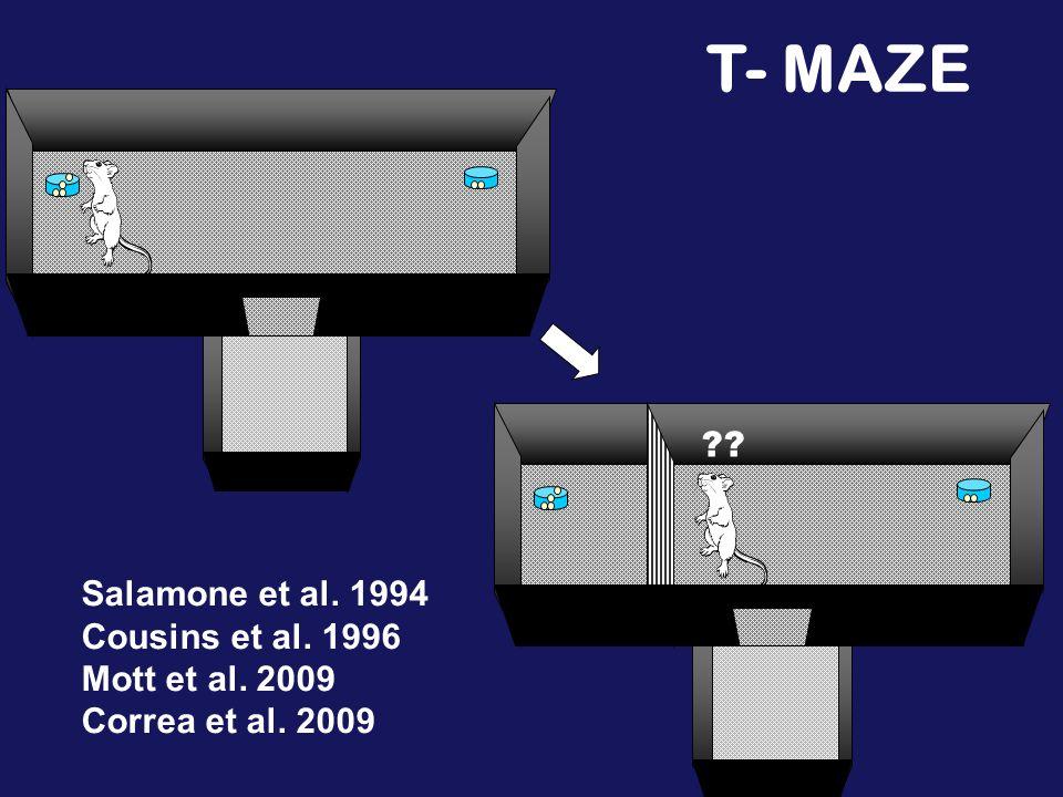 T- MAZE Salamone et al. 1994 Cousins et al. 1996 Mott et al. 2009 Correa et al. 2009
