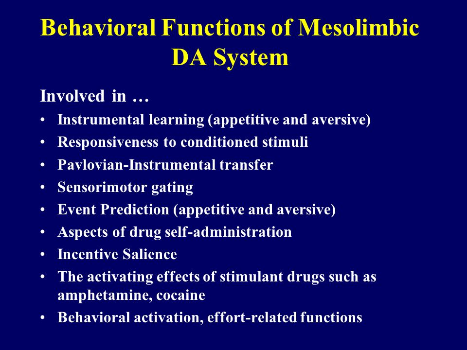 Behavioral Functions of Mesolimbic DA System Involved in … Instrumental learning (appetitive and aversive) Responsiveness to conditioned stimuli Pavlovian-Instrumental transfer Sensorimotor gating Event Prediction (appetitive and aversive) Aspects of drug self-administration Incentive Salience The activating effects of stimulant drugs such as amphetamine, cocaine Behavioral activation, effort-related functions