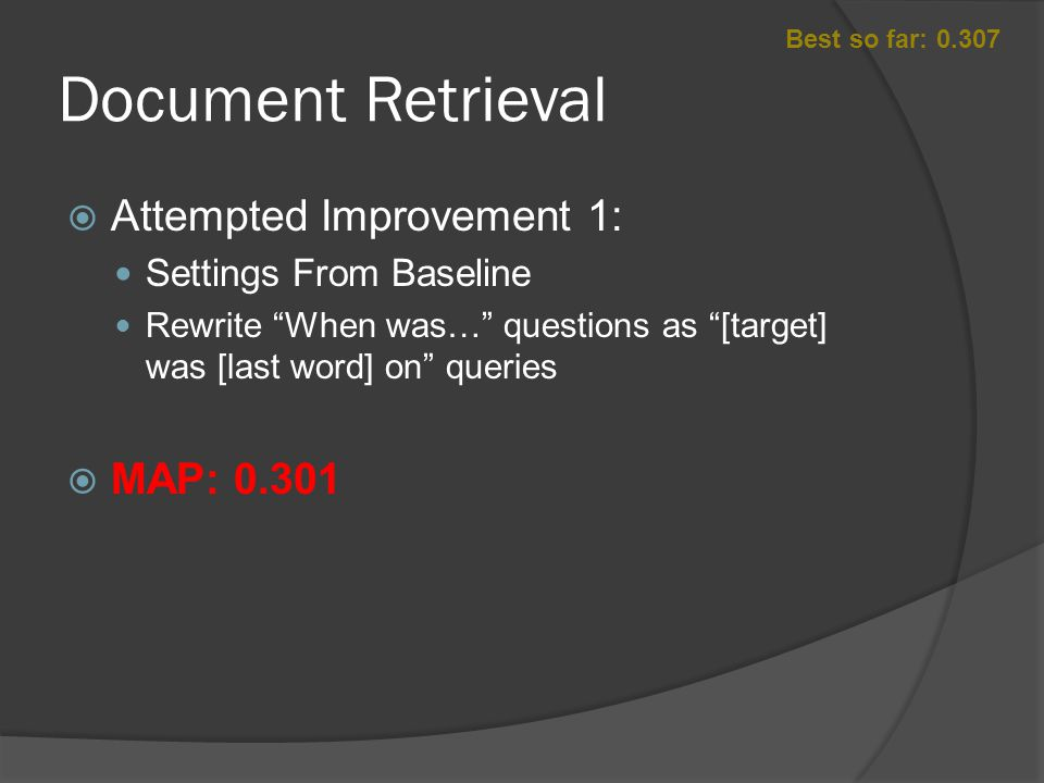Document Retrieval  Attempted Improvement 2: Settings From Baseline Remove Wh words Remove Stop Words Replaced Pronoun with Target String  MAP: 0.319 Best so far: 0.307 Wh / Stop WordsWhat, Who, Where, Why, How many, How often, How long, Which, How did, Does, is, the, a, an, of, was, as Pronounhe, she, it, its, they, their, his