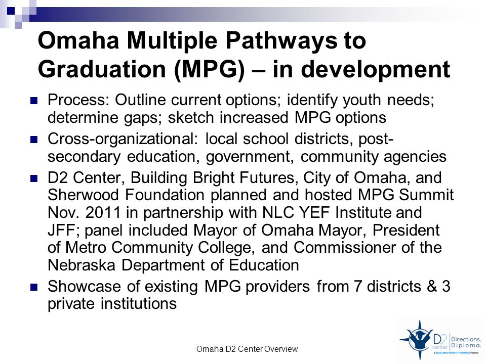 Omaha Multiple Pathways to Graduation (MPG) – in development Process: Outline current options; identify youth needs; determine gaps; sketch increased