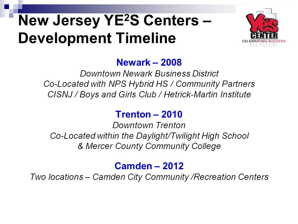 New Jersey YE 2 S Centers – Development Timeline Newark – 2008 Downtown Newark Business District Co-Located with NPS Hybrid HS / Community Partners CI