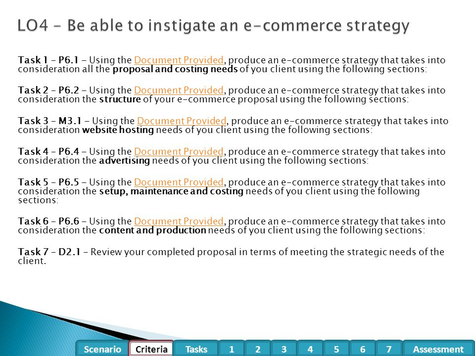 Scenario CriteriaTasksAssessment1234567 Task 1 – P6.1 - Using the Document Provided, produce an e-commerce strategy that takes into consideration all