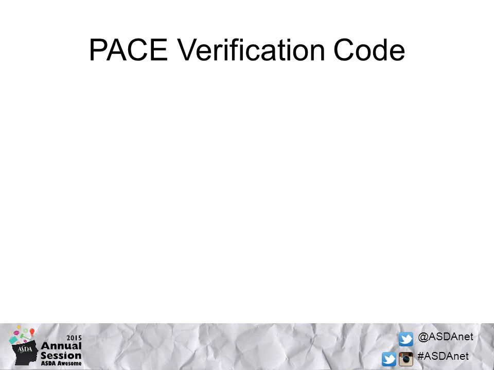 @ASDAnet #ASDAnet PACE Verification Code